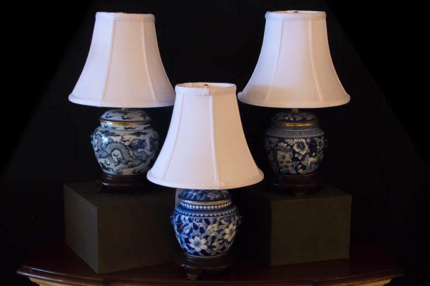 Blue and White Oriental Porcelain Lamps - Concord Lamp and Shade