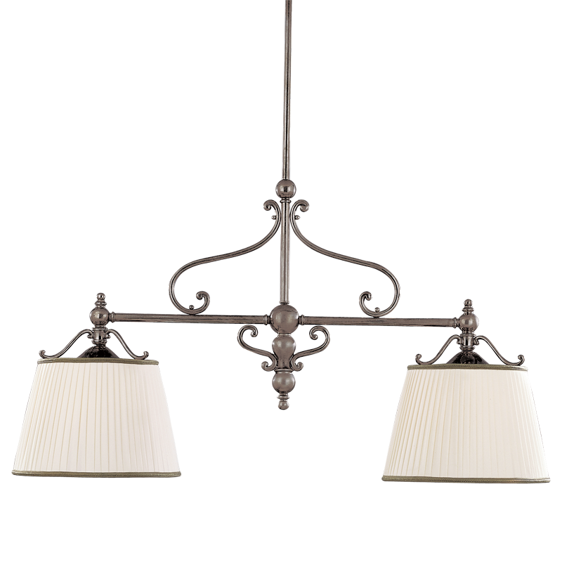 7712-HN_Hudson Valley Orchard Park 3-Light Linear Pendant in an Historic Nickel Finish with Pleated Shades