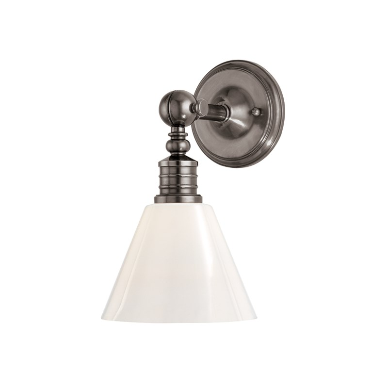 9601HV-HN_Hudson Valley Darien Wall Sconce in an Historic Nickel Finish with a Glass Shade