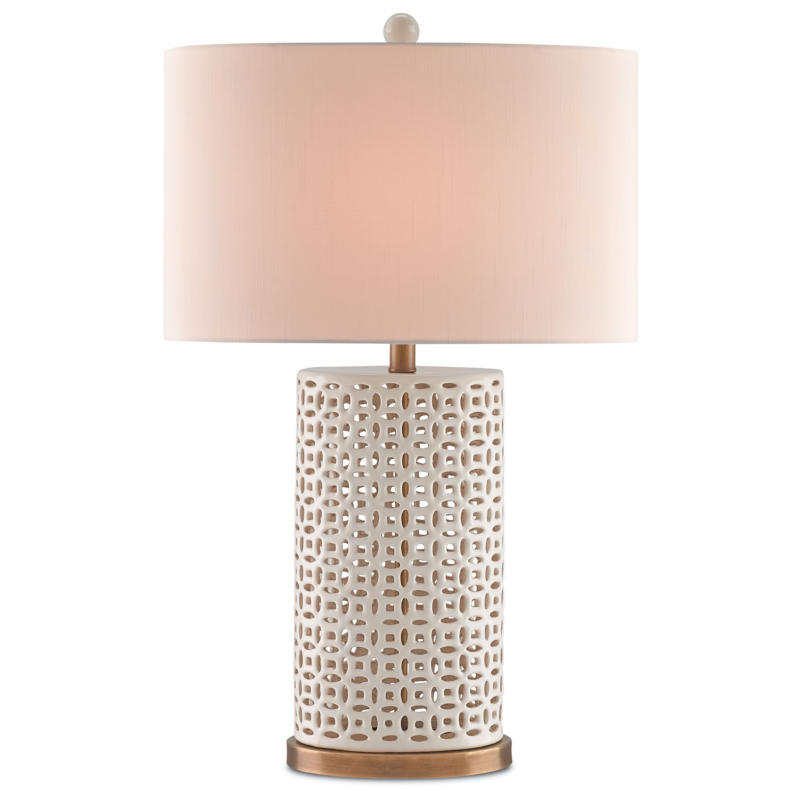 Currey Bellemeade Pierced Ivory Ceramic Table Lamp Concord Lamp