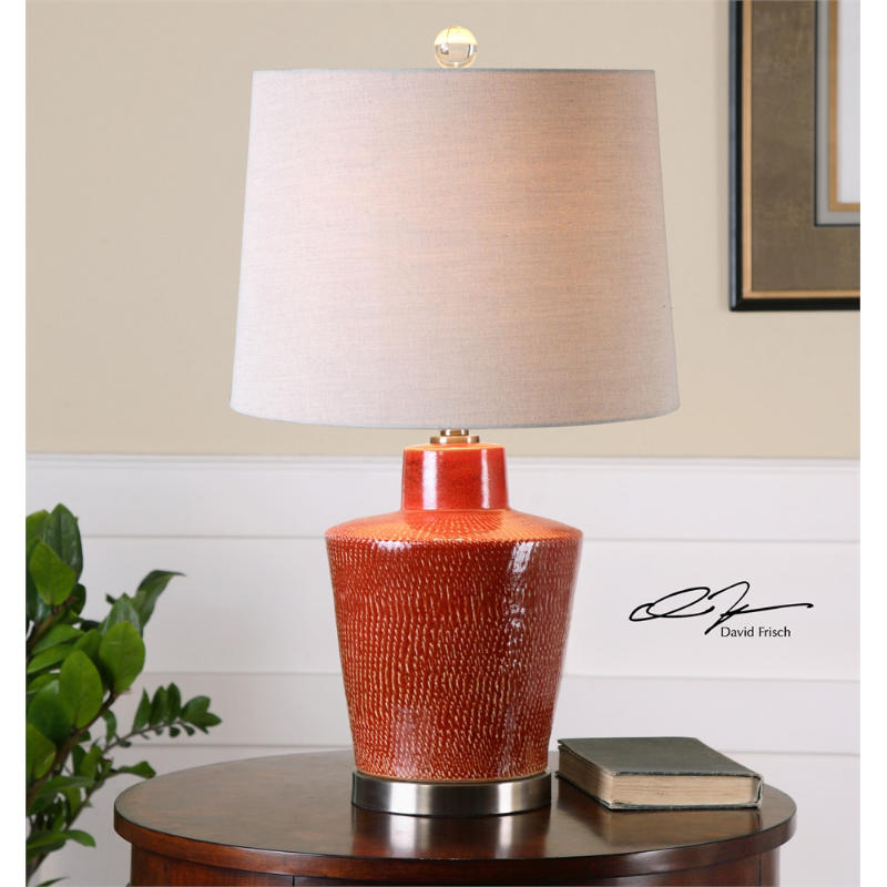 uttermost cornell ceramic table lamp in distressed red brick
