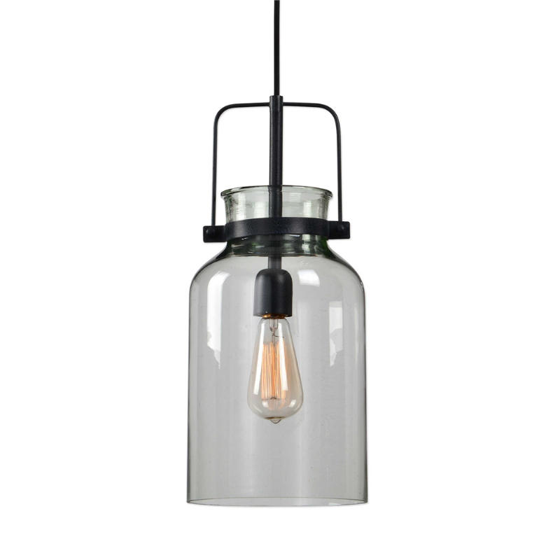 22101_Uttermost Lansing 1 Light Mini Pendant in a Black Finnish with Clear Glass