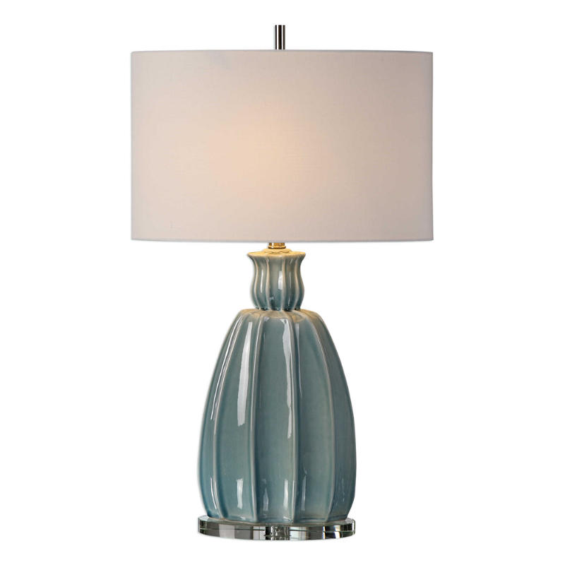 Uttermost Suzanette Ceramic Table Lamp In A Crackled Sky Blue Glaze