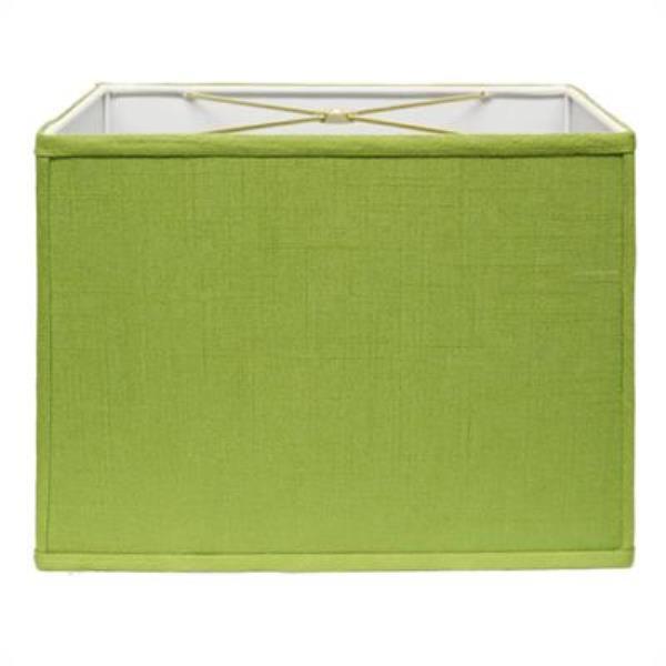 Retro Rectangle Hardback Lampshade in Apple Green Linen