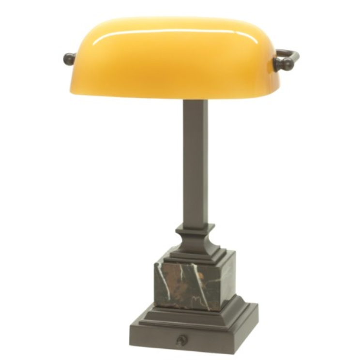House of Troy Mahogany Desk Lamp with a Gold Glass Shade DSK-430MB